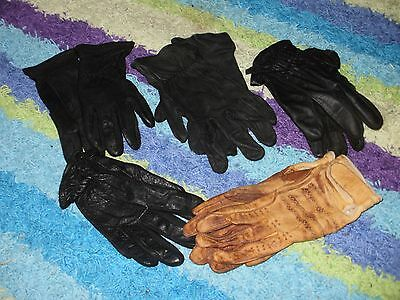 MIXED LOT LEATHER Riding Gloves  4 BLACK 1 TAN SMALL and MED 5 pairs in lot