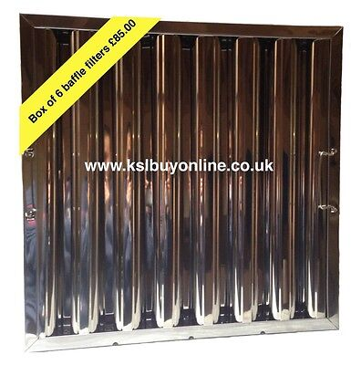 """6 Stainless Steel Baffle Grease Filters for Canopy Extraction 20x20x2""""495x495x48"""