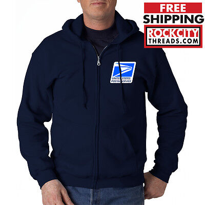 USPS LOGO POSTAL FULL ZIPPED NAVY HOODIE EMBROIDERED Service Zipup Zip United