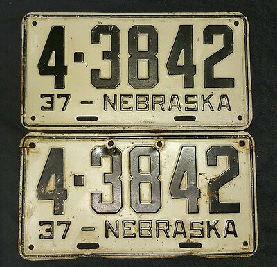 Matching Pair 1937 Nebraska License Plates Custer County 4-3842