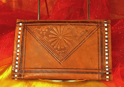 Fabulous! 1950s SOFT LEATHER Wallet~Hand Tooled in MOROCCO~Bills/Coins~UNISEX~EX