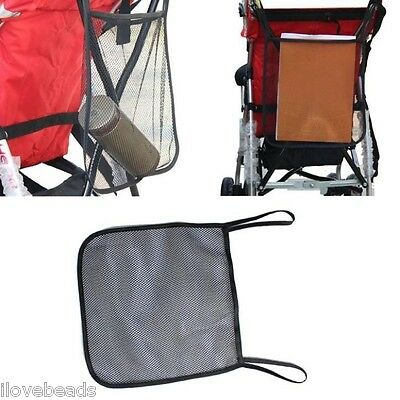 Baby Infant Stroller Black Hanging Safe Mesh Bag Trolley Storage Basket Net