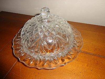Vintage Round Crystal Butter Dish 2 Piece