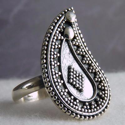 US 8 (Q) ~ 'Mad for Paisley' SILVERSARI Granulation Ring ~Solid Sterling Silver