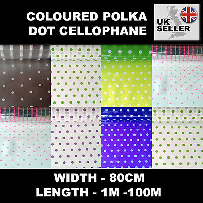 Coloured Polka Dot Dotted Florist Flower Cellophane Film Gift Wrap Roll 1m-100m