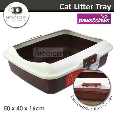 Paws n Claws Cat Litter Tray w/Rim - Pet Kitten toilet Training Hooded House Pan