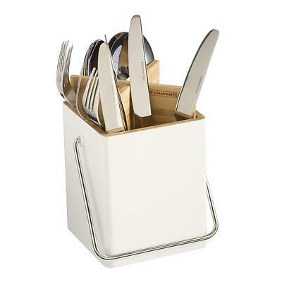 Typhoon Connect Divided Cutlery Caddy. Bamboo. Kitchen Cutlery Storage Pot