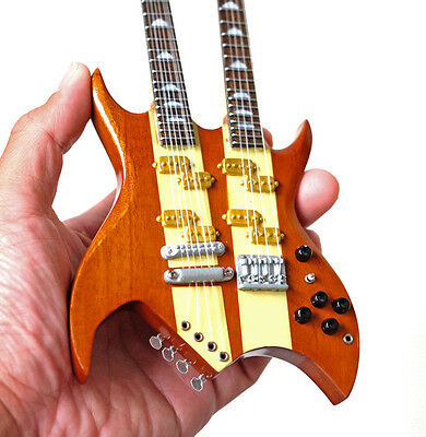 Miniature Guitar Derek Smalls Double Neck Bass This is Spinal Tap Natural Wood