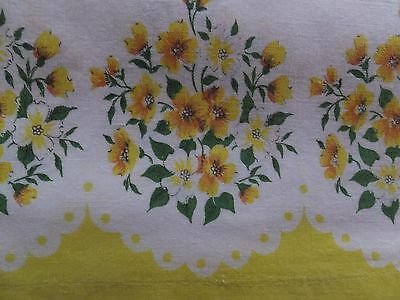 Vintage Yellow Dogwood Floral Cotton Full Uncut Feedsack Flour Sack Fabric
