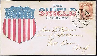 1861 The Shield of Liberty US Civil War Patriotic Cover Superb clean cover