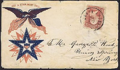 1862 (c) Not a Star Must Fall US Civil War Patriotic Cover South Amboy CDS on 3c