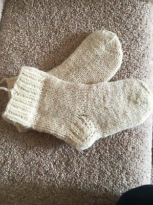 Hand Knitted Pure Wool Socks Size 3-6 Kids