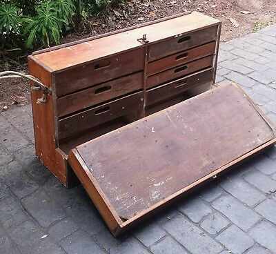 Vintage Wooden Trunk Chest Tool Box with Drawers Industrial Storage Steam Punk