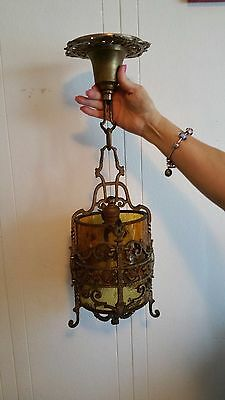 Antique Lantern Foyer Light ~ Solid Brass with Amber Glass Globe ~ OLD