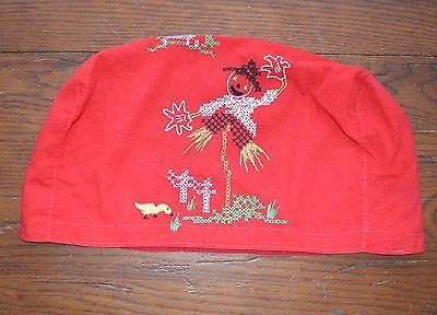 VINTAGE 1950s EMBROIDERED APPLIANCE OR TOASTER COVER RED SCARECROW CUTE!