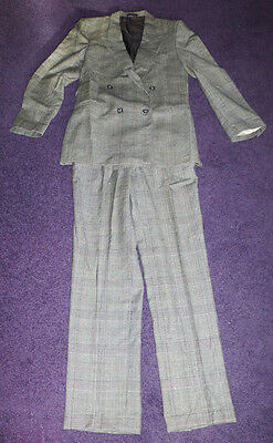 "Quality 1970s Tweed Plaid 100% Wool Trouser Suit 30"" Waist 33"" Inside Leg"