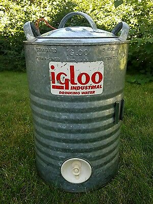 Vtg Igloo 5 Gallon Galvanized Metal Water Cooler White Plastic Liner with lid