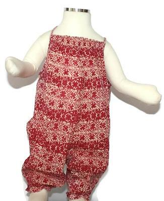 Baby girl red white floral flowered BONPOINT jump suit top age size 9 12 months