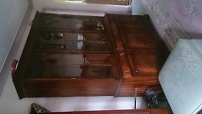 Antique mahogany dressser/bookcase display cabinet