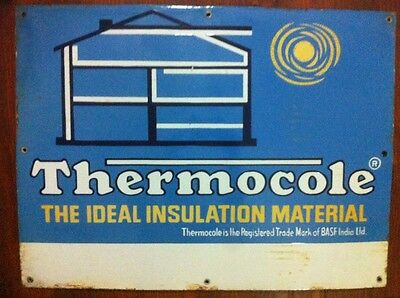 1940s OLD THERMOCOL INSULATION MATERIAL VINTAGE HOUSE HOME PORCELAIN ENAMEL SIGN