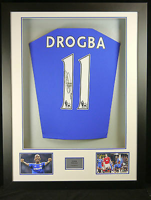 Didier Drogba Chelsea Signed Shirt Framed Display With Coa