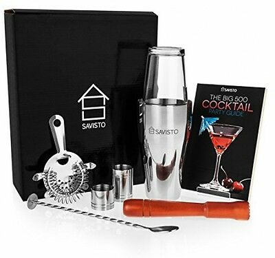 8 pc Premium Cocktail Set with Boston Cocktail Shaker Glass Best Christmas Gift