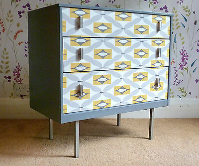 Vintage Retro Grey Chest of Drawers Mid-Century 1960's Updated FAB