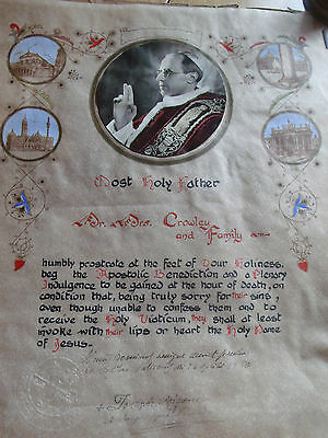 Vintage hand painted 1950 unframed Papal Blessing Pope Pius XII Seal Signed