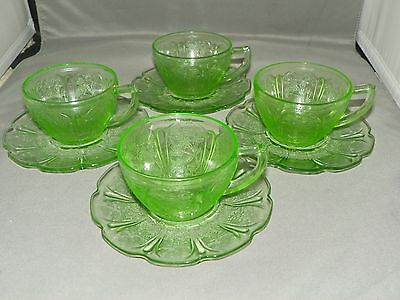 Green Cherry Blossom Jeannette Depression Glass 1930-1939 Set of 4 Cup & Saucer