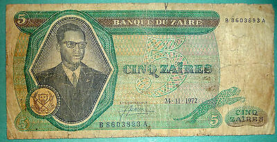 Zaire  / Congo /  5 Zaires Rare Note Issued 24.11. 1972, P 20