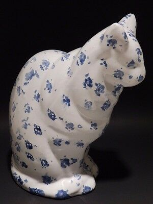 Bybee Pottery Kentucky Stoneware Spongeware/Spatterware Blue/White Cat Sculpture