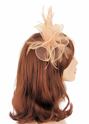 Nude Colour Organza and Feather Hair Fascinator finished on slim headband