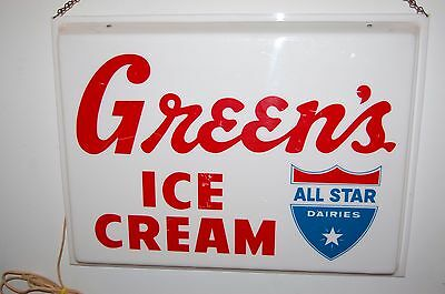 Vintage Ice Cream Light Up Sign Greens Dairy Store Display
