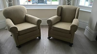 Pair of Edwardian  club chairs wingback Chair and chair