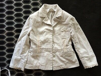 Girls Cream DKNY Suit Age 4 Years Capri Trousers & Jacket Lace Trim