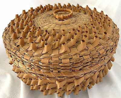 Fancy Hand Made Pottawatomi First Nations Split Ash and Sweet Grass Basket