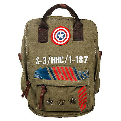 NEW OFFICIAL Captain America Marvel Vintage Military Army Backpack Bag Rucksack