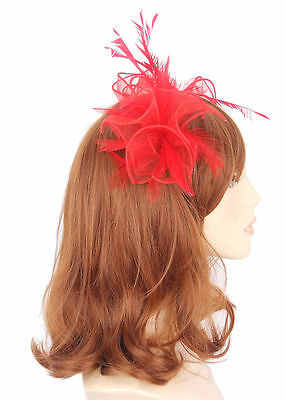 Red Organza and Feather Hair Fascinator finished on slim headband