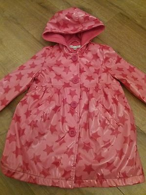 Girls MARKS AND SPENCER AUTOGRAPH pink hooded fleece lined raincoat age 3-4