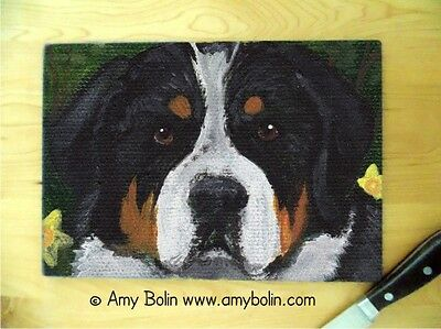 GREATER SWISS MOUNTAIN dog Large Glass CUTTING BOARD by Amy Bolin Sweet Dreams