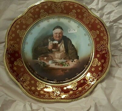 """Antique Royal Vienna Monk Drinking Beer 9.5"""" Plate Beehive Mark Z.S. +Co Bavaria"""