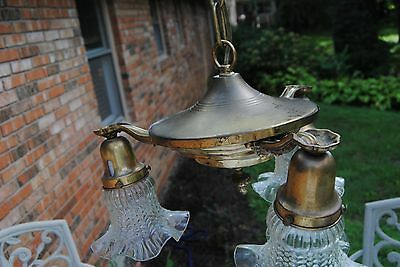 Vintage Art Decco Brass 3 Arm Hanging Chandelier Ceiling Light Fixture