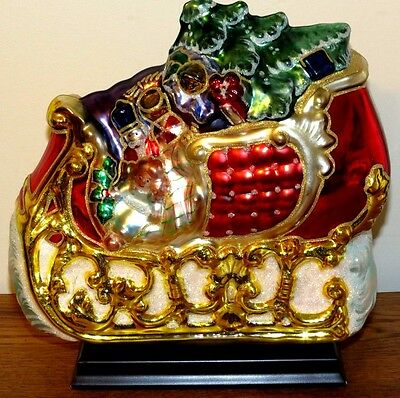 Large Hand Blown Glass Santa Sleigh Full of Toys  Mounted on Wood Base