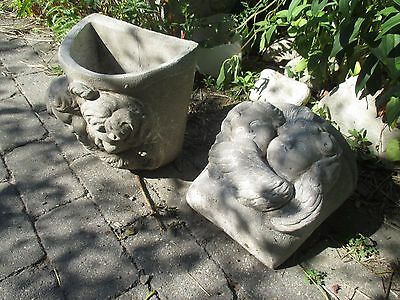 PAIR OF vintage cement outdoor pocket planters of cherubs