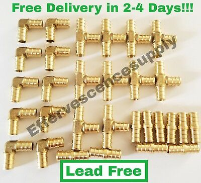 """3/4"""" Brass Pex Fittings 10 Elbows, 5 Coupler, 5 Tees (Lead Free Brass)"""