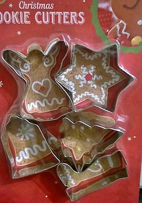 5 Christmas Metal CAKE BISCUIT Home BAKING COOKIE CUTTERS SHAPES TOOL SET Kids