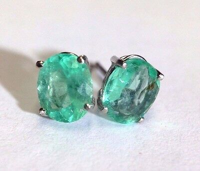 Glowing! 2.96CT Colombian Emerald Oval 14K White Gold Stud Earrings | NEW
