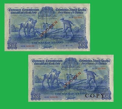 Ireland Currency 50 Pounds  Ploughman Note  UNC - Reproductions