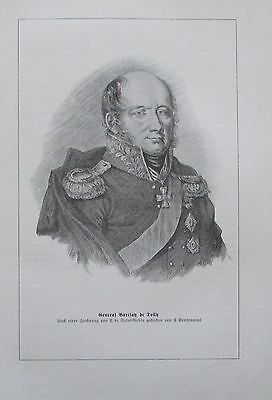 1913 GENERAL BARCLAY DE TOLLY PORTRÄT alter Druck Antique Print Litho