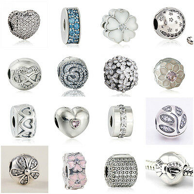 Authentic Solid 925 Sterling Silver Clips A fit European Beads Charms Bracelets